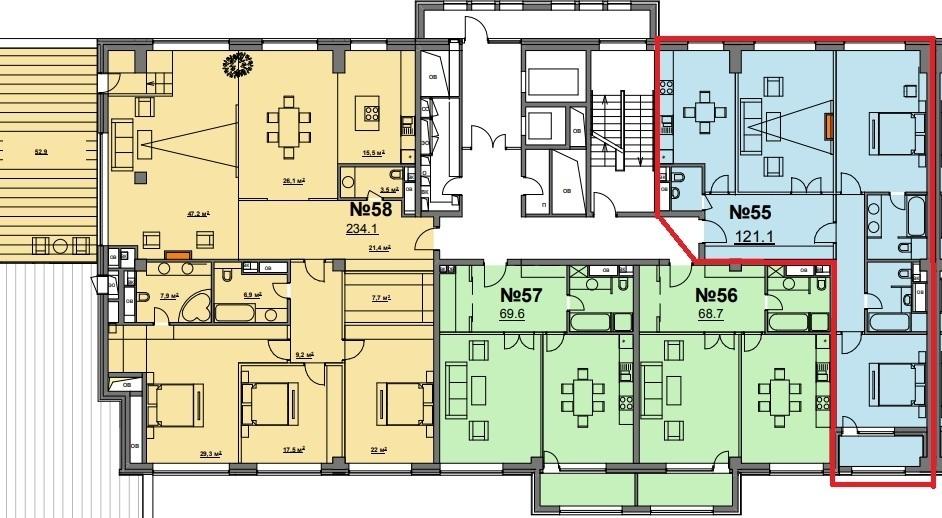 """ЖК """"Wine House""""- видовой пентхаус, 122 кв.м, 3 спальни и кухня. - Фото 13"""