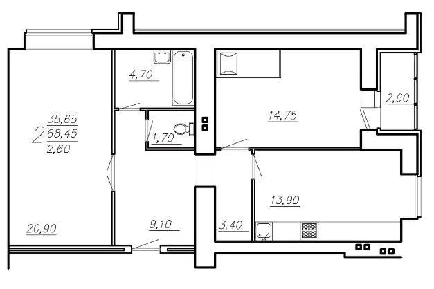 Продается квартира, 73.6 м - Фото 0