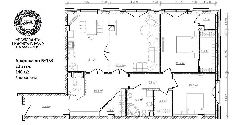 """ЖК """"Сады Пекина"""" - Пентхаус 201,38 кв.м, 12/13 этаж, 1корпус, 5 спален - Фото 4"""
