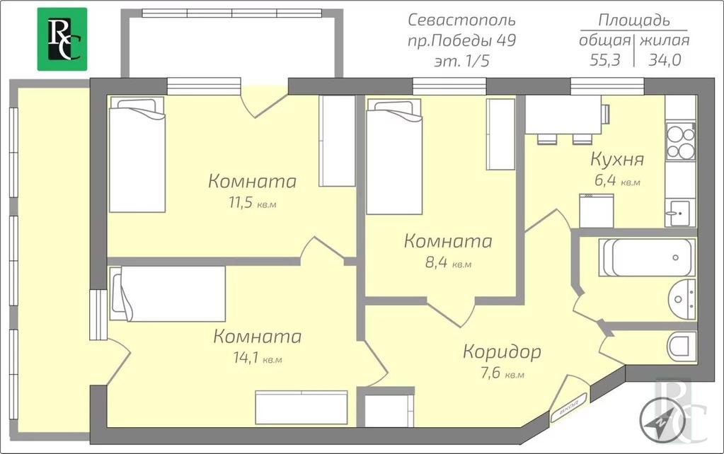 Продажа квартиры, Севастополь, Победы пр-кт. - Фото 16