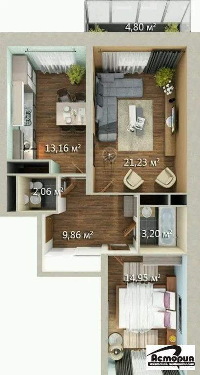 2 комнатная квартира, ул. Садовая 3 к.1 - Фото 0