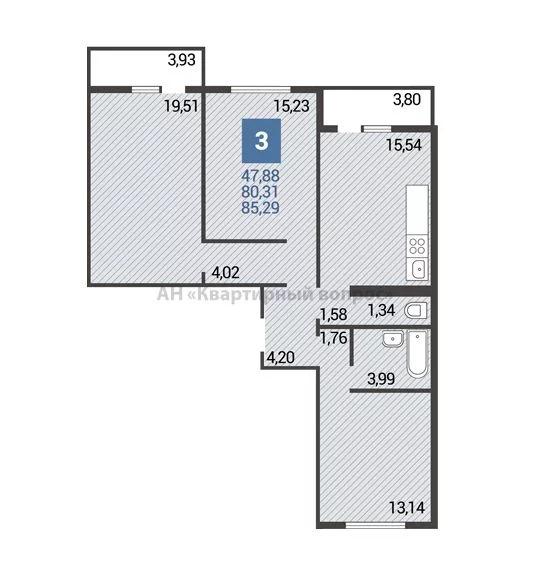 3 комнатная квартира - Фото 0