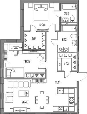 Просторная 3е-к.квартира 86 м2 - Фото 0