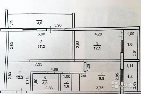 2-к квартира, 63.5 м, 7/14 эт. - Фото 19
