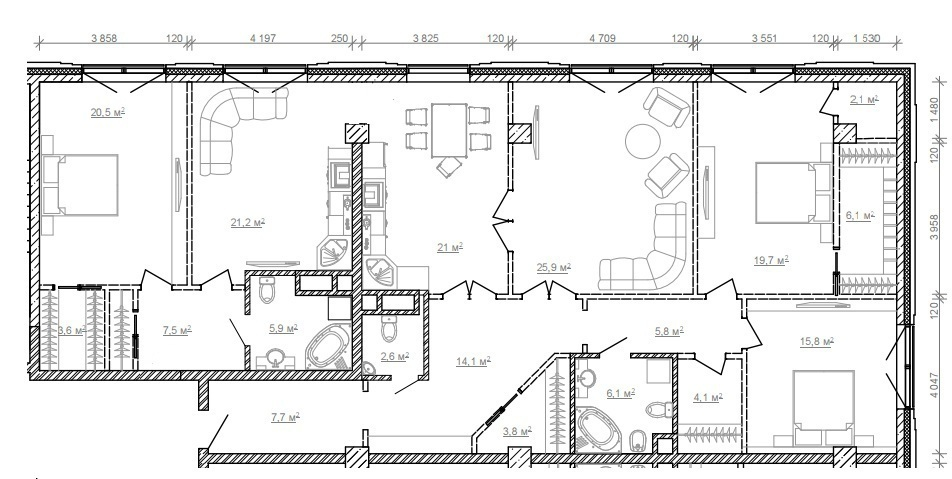 """ЖК """"Сады Пекина"""" - Пентхаус 201,38 кв.м, 12/13 этаж, 1корпус, 5 спален - Фото 3"""