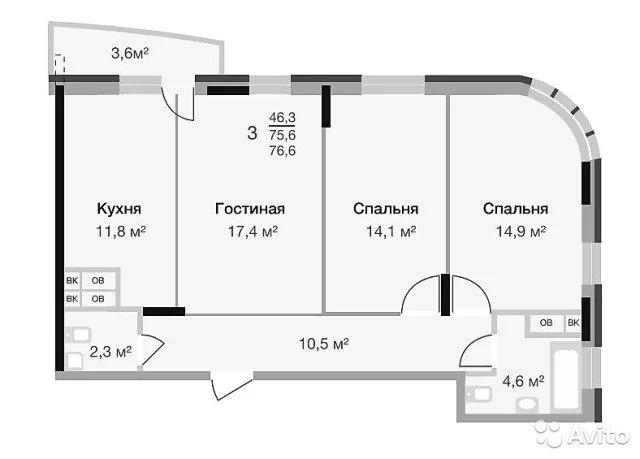 3-к квартира, 77 м, 2/16 эт. - Фото 1