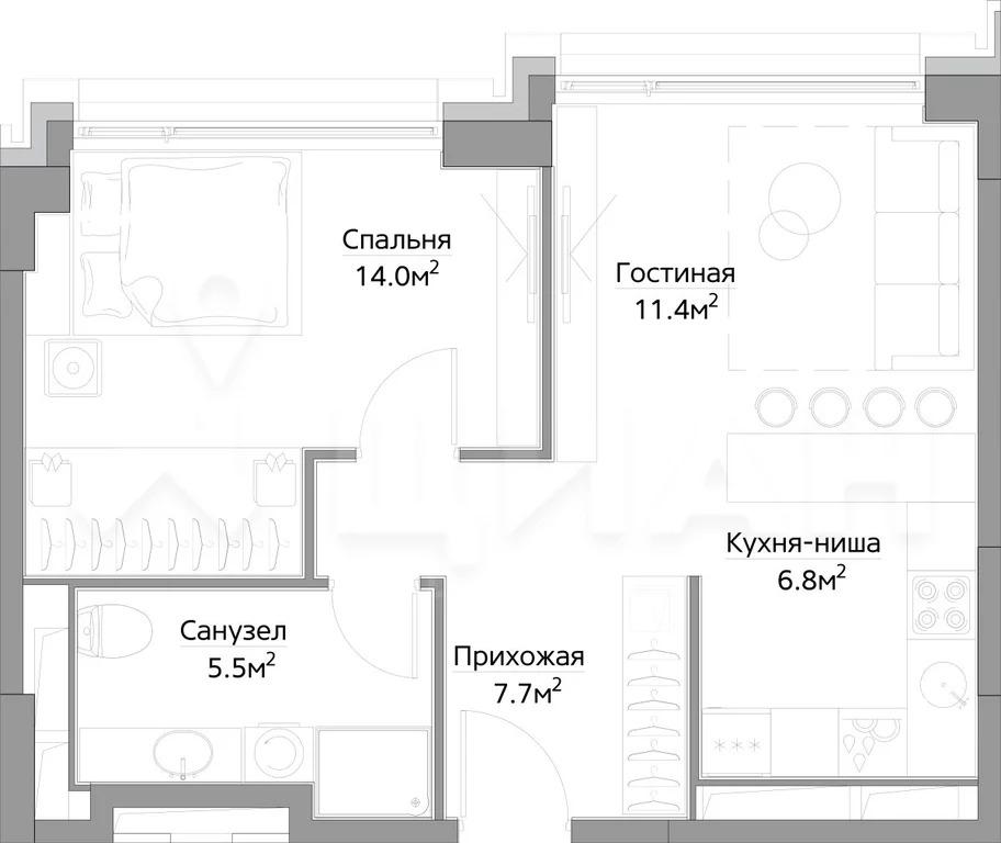 1-к кв. Москва ул. Дыбенко (44.98 м) - Фото 0