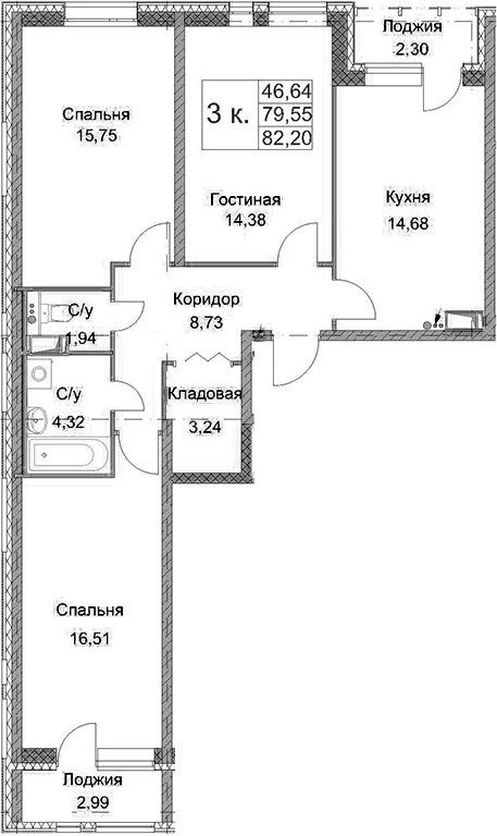 3 квартира в Терре, переуступка - Фото 1