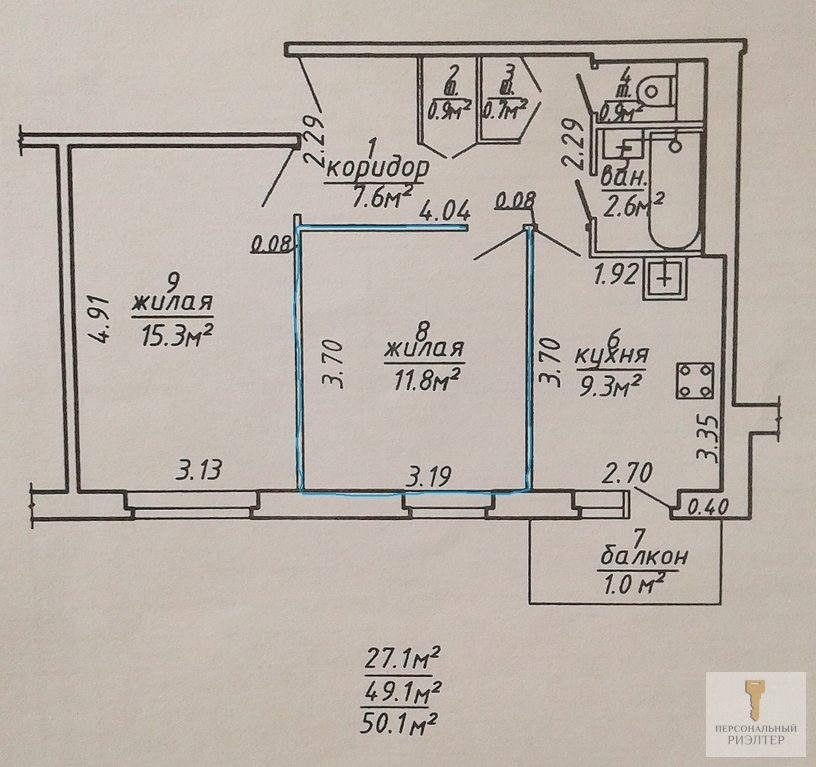 Комната в 2-к квартире новой планировки - Фото 1