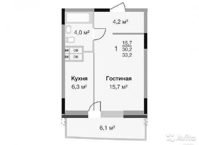 1-к квартира, 33.2 м, 14/16 эт. - Фото 1