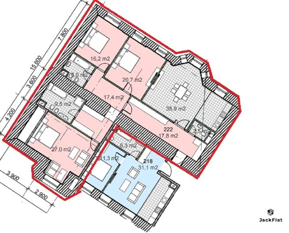 ЖК Полянка/44 - 170 кв.м, трёх или четырёхкомнатная квартира, 2/7 эт. - Фото 12