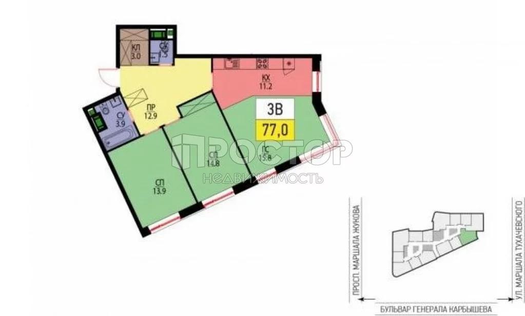 Продажа квартиры, Генерала Карбышева б-р. - Фото 2