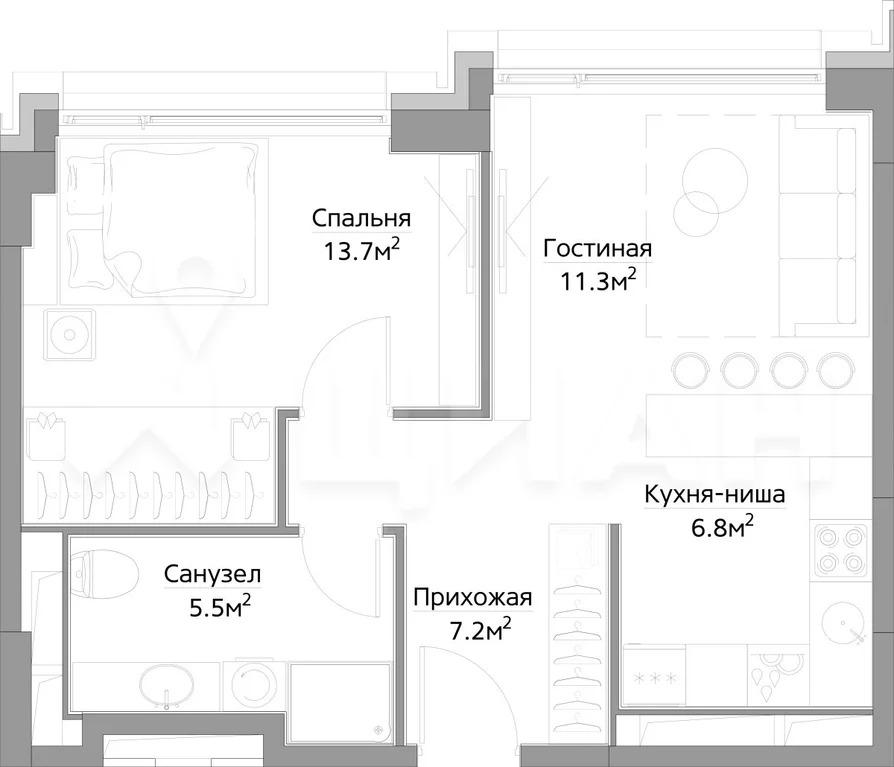 1-к кв. Москва ул. Дыбенко (44.08 м) - Фото 0