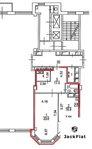 80 кв.м, св. планировка, 8этаж, 8 секция - Фото 16