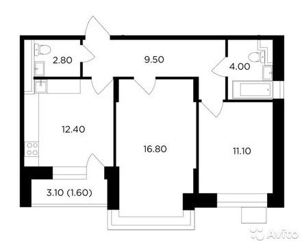2-к квартира, 58.2 м, 10/16 эт.