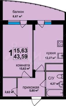 1-к кв. Владимирская область, Владимир ул. Фейгина, 17 (43.59 м)