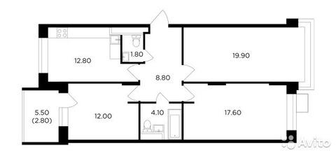 3-к квартира, 79.8 м, 8/16 эт.