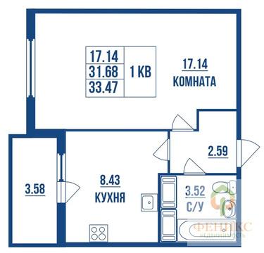 1-комн.кв, 33.5м2, 17 эт/24, ул. Глухарская, 16 корп.2, ЖК .