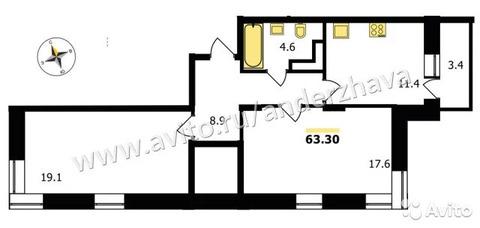 2-к квартира, 63.3 м, 16/19 эт.