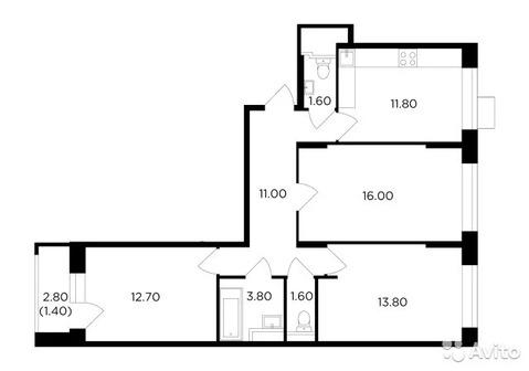 3-к квартира, 73.7 м, 10/18 эт.