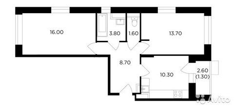 2-к квартира, 55.4 м, 7/18 эт.