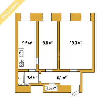 Обводного канала наб, 51, 3 эт, 2 к.кв. 49 м, Купить квартиру в Санкт-Петербурге, ID объекта - 318482731 - Фото 1