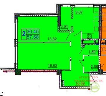 Новостройка, 2-комнатная квартира 57,73, Купить квартиру в Белгороде, ID объекта - 325763023 - Фото 2