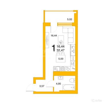 """1-к квартира, 32.5 м, 5/25 эт. ЖК """"Авиатор""""., Купить квартиру в Уфе, ID объекта - 330565539 - Фото 1"""