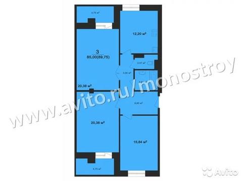 3-к квартира, 89.4 м, 3/12 эт.