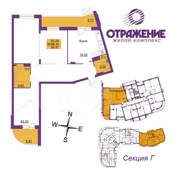 3-к кв. Владимирская область, Владимир ул. Горького (95.47 м)