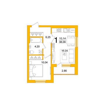 """1-к квартира 38м2 """"Эко-парк Сосны"""", Купить квартиру в Уфе, ID объекта - 333292733 - Фото 1"""