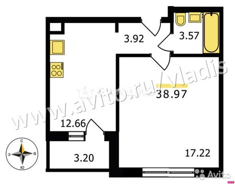 1-к квартира, 39 м, 1/18 эт.