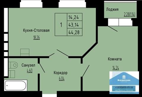 1 326 000 Руб., Продаётся однокомнатная квартира в новом доме в мкр.Юрьевец, Купить квартиру от застройщика в Владимире, ID объекта - 313381342 - Фото 2