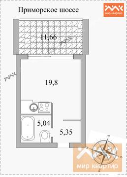 Студия с большой террасой в Курортном районе!, Купить квартиру в Сестрорецке, ID объекта - 331072632 - Фото 3