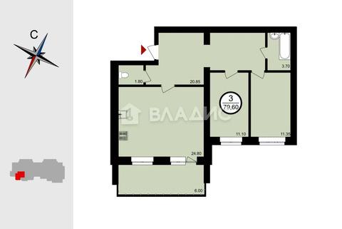 , Владимир, Восточная ул, д.9 корп 1 по гп, 3-комнатная квартира на .