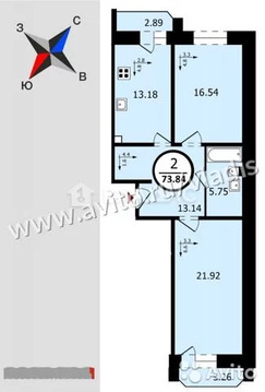 2-к квартира, 73.8 м, 9/17 эт.