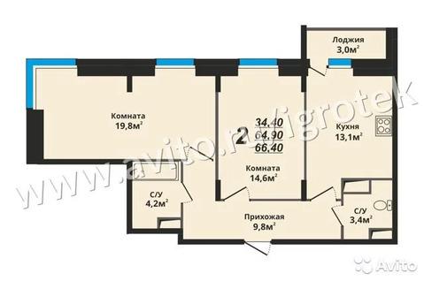 2-к квартира, 66.4 м, 2/19 эт.