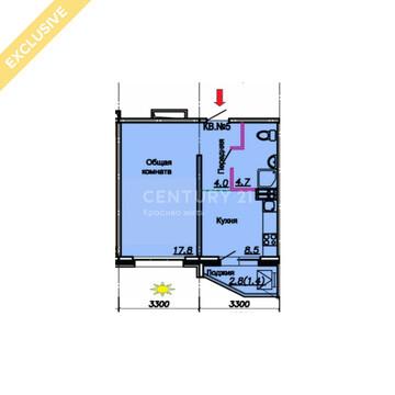 Энтузиастов 55 ( 1-ком, 37,4 м2), Купить квартиру в Барнауле, ID объекта - 333494229 - Фото 1