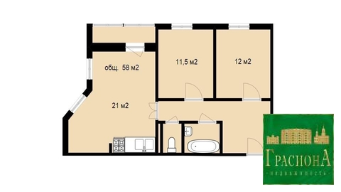 Квартира, Энергетиков, д.15 к.А, Купить квартиру в Томске, ID объекта - 322666952 - Фото 2