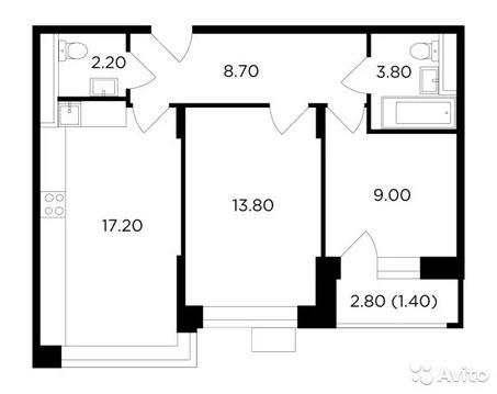 2-к квартира, 56.1 м, 2/18 эт.